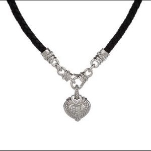 Judith Ripka Braided Sterling Heart Necklace